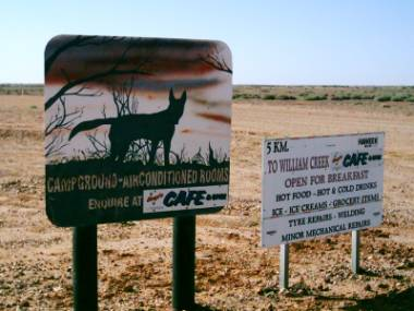 Dingo Schild vor Williams Creek